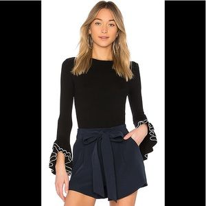 Milly Layered Ruffle Sleeve Black Pullover, Med.